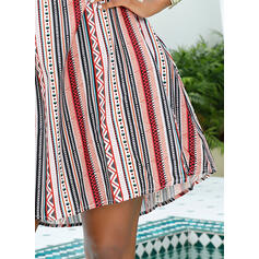 Print/Striped Sleeveless Shift Above Knee Casual/Vacation Dresses
