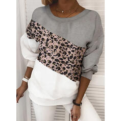 Color Block Leopard Round Neck Long Sleeves Sweatshirt