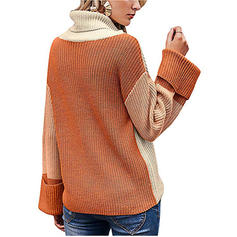 Color Block Ribbed Chunky knit Cowl Neck Sweaters