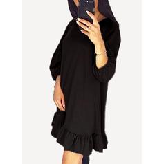 Solide 3/4 Mouwen Shift Boven de knie Zwart jurkje/Casual Jurken