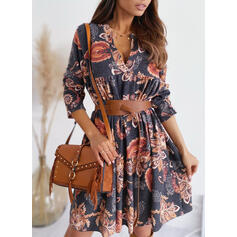 Print Long Sleeves A-line Above Knee Vintage/Casual Skater Dresses