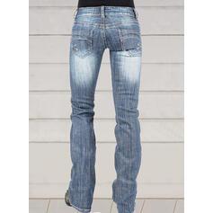 Froncé Grande taille Longue Élégante Maigre Jeans
