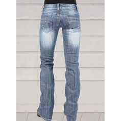 Shirred Plus Size Long Elegant Skinny Denim & Jeans