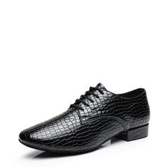 Men's Ballroom Flats Real Leather With Lace-up Modern