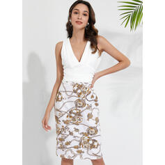 Print/Floral Sleeveless Bodycon Knee Length Party Dresses