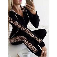 Cuvertură din diferite petice Plus Size leopard Casual Sexy sportiv Costumele