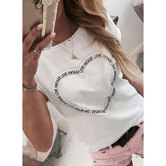 Print Heart One-Shoulder Short Sleeves Casual T-shirts