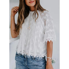 Solide Kant Ronde Hals 1/2 Mouwen Casual Blouses