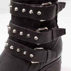 Femmes Similicuir Talon bas Bottes avec Boucle chaussures