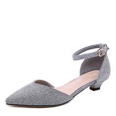 Kvinnor Microfiber läder Låg Klack Pumps Stängt Toe med Spänne skor