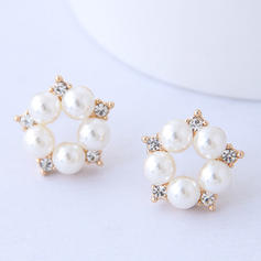 Flower Shaped Alloy Rhinestones Imitation Pearls With Imitation Pearl Women's Fashion Earrings (Set of 2)