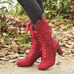 Women's Suede Lace Cloth Stiletto Heel Boots With Ribbon Tie shoes