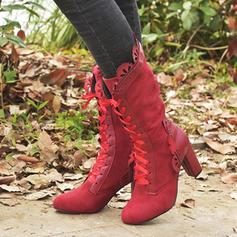 De mujer Ante Encaje Tela Tacón stilettos Botas con Cordón zapatos