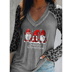 Leopard Figure V-Neck Long Sleeves Casual Christmas T-shirts