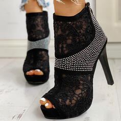 Women's Lace Stiletto Heel Pumps Peep Toe With Rhinestone Hollow-out shoes