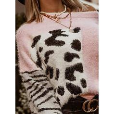 Färg block Leopard Round Neck Casual Tröjor