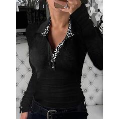 leopardo Risvolto Maniche lunghe Bottone Casuale Camicie