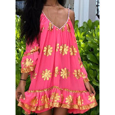 Print/Floral Long Sleeves/Cold Shoulder Sleeve Shift Above Knee Casual/Vacation Tunic Dresses