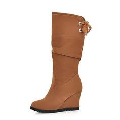 Donna Camoscio Zeppe Stivali altezza media scarpe