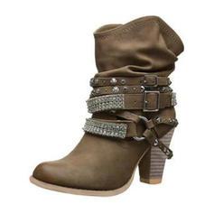 Frauen Kunstleder Stämmiger Absatz Absatzschuhe Stiefel mit Schnalle Schuhe