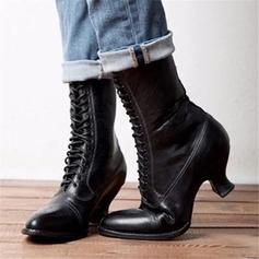 PU Chunky sarok Csizma -Val Lace-up cipő