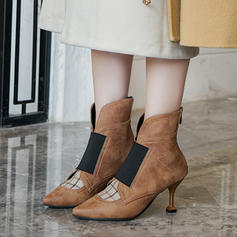 Women's Leatherette Stiletto Heel Pumps Boots Ankle Boots With Elastic Band shoes