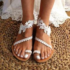 De mujer Cuero de Microfibra Tacón plano Sandalias Planos Encaje con Flor zapatos
