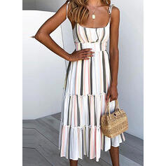Striped Sleeveless A-line Slip Casual/Vacation Midi Dresses
