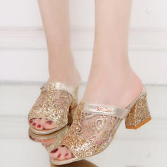 Women's PU Chunky Heel Sandals Peep Toe With Sequin shoes
