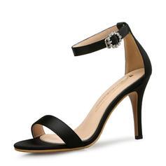 Femmes Satiné Talon stiletto Sandales Escarpins À bout ouvert avec Boucle chaussures