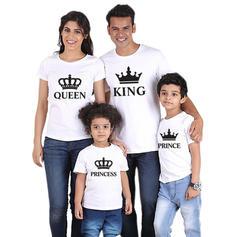 Letter Inmprimé Tenue Familiale Assortie T-shirts