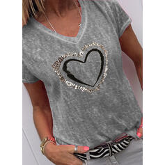 Print Sequins V-Neck Short Sleeves Casual T-shirts