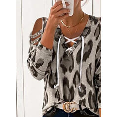 Leopard Beaded Cold Shoulder Long Sleeves Casual Blouses