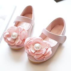 Girl's Microfiber Leather Flat Heel Round Toe Closed Toe Flats Flower Girl Shoes With Velcro Flower