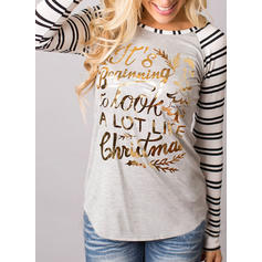 Solid Print Round Neck Long Sleeves Casual Christmas Blouses