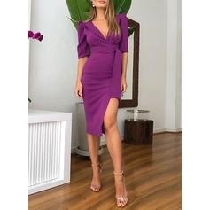 Solid 1/2 Sleeves Sheath Knee Length Casual/Elegant Dresses