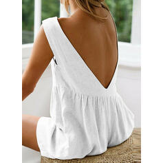 Solid Round Neck Sleeveless Casual Vacation Romper