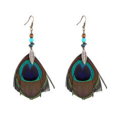Beau Alliage Feather avec Feather Femmes Boucles d'oreille de mode