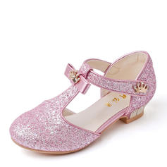 Girl's Microfiber Leather Low Heel Closed Toe Flower Girl Shoes With Rhinestone Sequin Sparkling Glitter Velcro