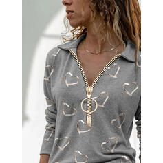 Print Heart Lapel Long Sleeves Casual Blouses