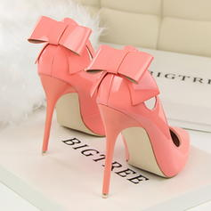 Women's Patent Leather Stiletto Heel Pumps Closed Toe With Bowknot Hollow-out shoes