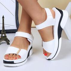 Vrouwen PU Wedge Heel Sandalen Plateau Peep Toe met Velcro Effen kleur schoenen