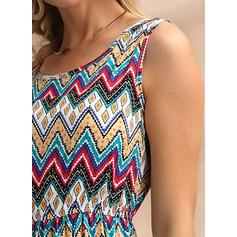 Nadruk geometryczny Bez rękawów W kształcie litery A Midi Casual/Boho/Wakacyjna Sukienki