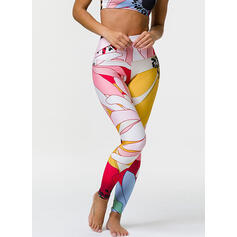 Round Neck Sleeveless Print Floral Sports Leggings Sports Bras