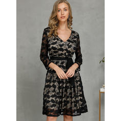 Lace/Solid 1/2 Sleeves A-line Knee Length Casual/Party/Elegant Skater Dresses