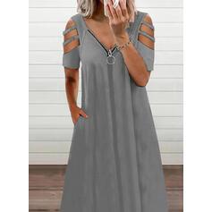 Jednolita Krótkie rękawy Koktajlowa Casual Midi Sukienki