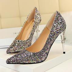 Femmes Pailletes scintillantes Talon stiletto Escarpins Bout fermé avec Pailletes scintillantes Talon de bijoux chaussures