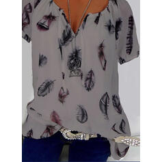 Print V-Neck Short Sleeves Casual Elegant Blouses