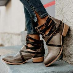 Női PU Alacsony sarok Magassarkú Csizma Bokacsizma -Val Lace-up cipő