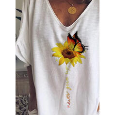 Animal Print Sunflower Print V-Neck 1/2 Sleeves Casual T-shirts